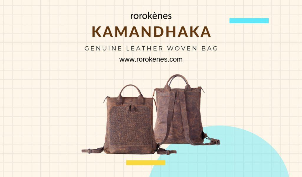Kamandhaka Genuine Woven Leather Backpack